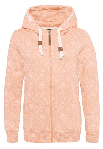 Eight2Nine Damen Sweatjacke mit Ethnomuster | Sportlicher Hoodie in Melange-Optik mit Zipper orange S