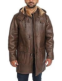 Herren Echtes Schaffell Duffle Mantel Braun 3 4 lang Hooded Warm Shearling  Jacke - Mitchel 681735499f