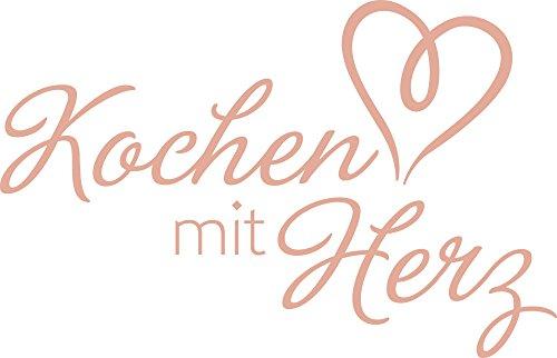 Graz Design® Wandtattoo Küche Kochen mit Herz | Küchentattoo Wand-Worte für Esszimmer Restaurant und Küchen-Rückwände | selbstklebende Klebefolie | in 47 Farben | Wand-Deko (62x40cm // 958 baby doll)