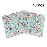 BESTOYARD Blumenserviette Floral bedruckte Serviette Papier für Hochzeit Geburtstag Babydusche Abendessen Partei 40Pcs