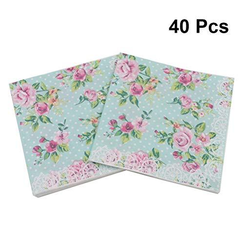 (BESTOYARD Blumenserviette Floral bedruckte Serviette Papier für Hochzeit Geburtstag Babydusche Abendessen Partei 40Pcs)