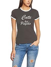 CUTE BUT PSYCHO - Ringer T-Shirt Damen Girlies Gr.XS S M L XL XXL