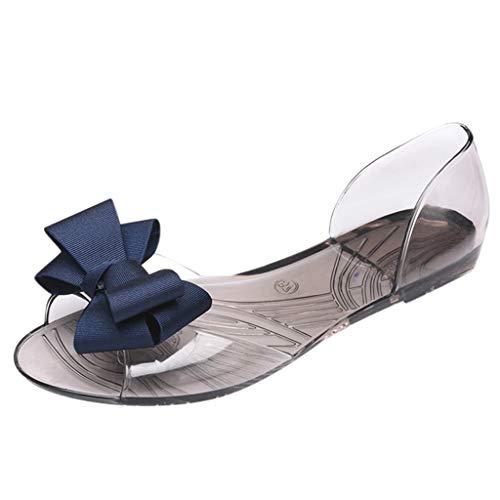 MakefortuneFrauen Wedges Sandalen Open Peep Toe Bohemia Kleid Schuhe Bögen Dekor Ausschnitt Flache Sandale D'orsay Komfort Wanderschuh
