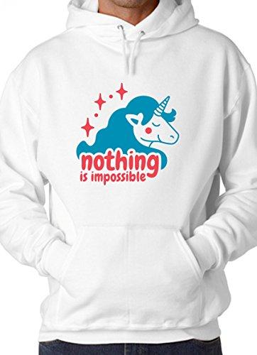 b9108c5635822 Nothing Is Impossible Unicorn Funny Design White Unisex Hoodie - X-Large