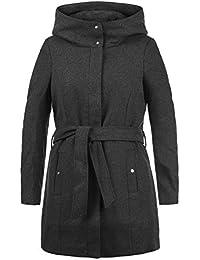 VERO MODA Wollni Damen Wollmantel Winterjacke Mantel Mit Kapuze Und Gürtel