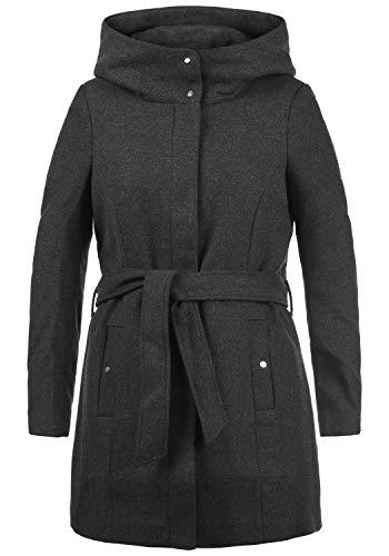VERO MODA Wollni Damen Winter Jacke Wollmantel Winterjacke Mantel mit Kapuze und Gürtel, Größe:L, Farbe:Dark Grey Melange