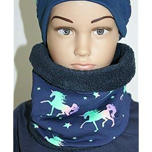 Einhorn Pferde Pony Loop Schal Fleece, blau - Mädchen Grösse. 49-54