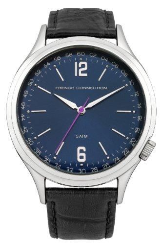 French Connection Hombre Reloj de cuarzo con Esfera Analógica Azul Pantalla y negro correa de piel fc1195uba