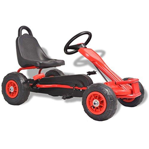 Festnight Gokart Tretfahrzeug Kinder Pedal Go Karts mit Luftreifen Rot