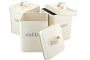 Ehc Set of 3 Square Tea Sugar and Coffee Storage Canister Jars, Cream