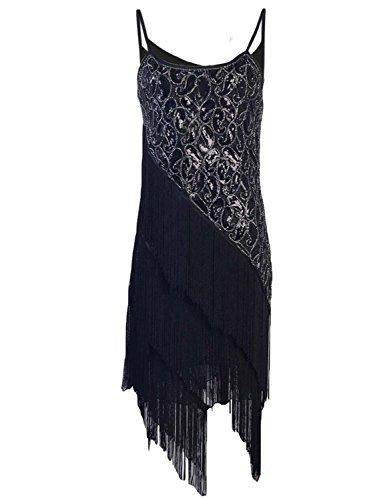 r Pailltte Muster Tiered Quaste Gatsby Flapper Kleid L Schwarz (20er Jahre Kleidung)