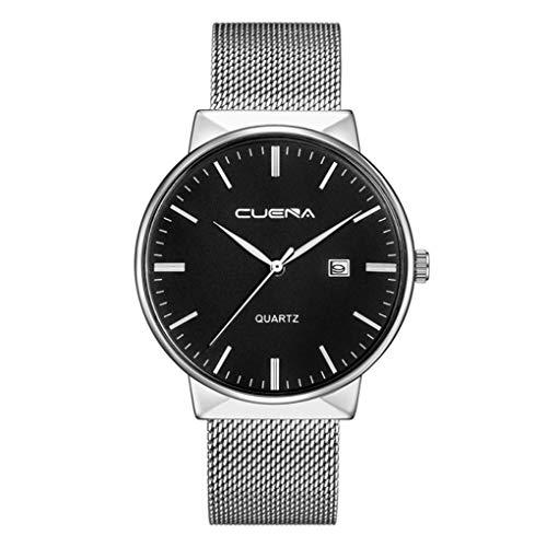Herren Uhren Ultra Dünne Schwarze Minimalistische Quartz mit Milanese Armband Quarzuhr ultradünne Schwarz Armbanduhr für Damen und Herren Classic Design