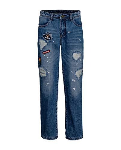 GULLIVER Kinder Teen Junge Denim Jeans Hose | Farbe Blau Destroyed Zerrissen mit Löcher und Patch, Stretch | 100% Baumwolle | für 9-13 Jahre