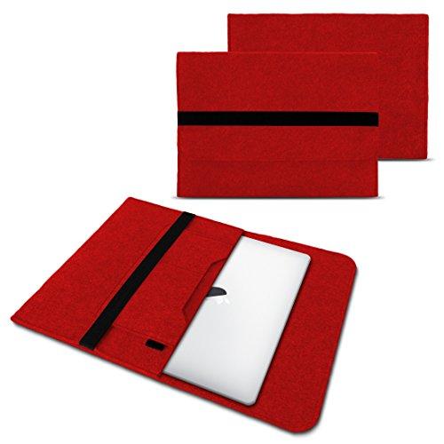 NAUC Laptop Tasche Sleeve Hülle Schutztasche Filz Cover für Tablets und Notebooks Farbauswahl kompatibel mit Samsung Apple ASUS Medion Lenovo, Farben:Rot, Größe:12.5-13.3 Zoll