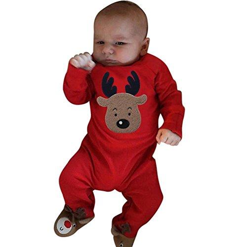 Longra Weihnachten Neugeborenes Baby Mädchen Jungen Deer Strampler Overall Outfit Set Baby Weihnachten Jumpsuit Pyjamas Outfits Kleidung (Red, 100CM 24Monate) (Stricken Blau Pyjama)