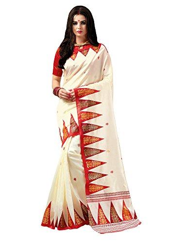 Saree Mall Women's With Blouse Piece Patola Silk Saree (9Pj6002 _Off-White_Free Size)