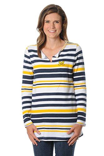 UG Apparel Women's University of Michigan Wolverines Striped Tunic Fleece, Gold/Navy/White, Medium -