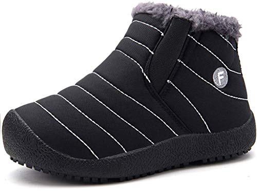 Kinder Winterschuhe Jungen Mädchen Schneestiefel Wasserdicht Warm gefütterte Schlupfstiefel Winter Stiefel Sneaker Schuhe Schwarz 36 EU = 36 CN