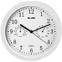 Elbe RP-2005-B - Reloj de pared con termómetro y higrómetro, color blanco