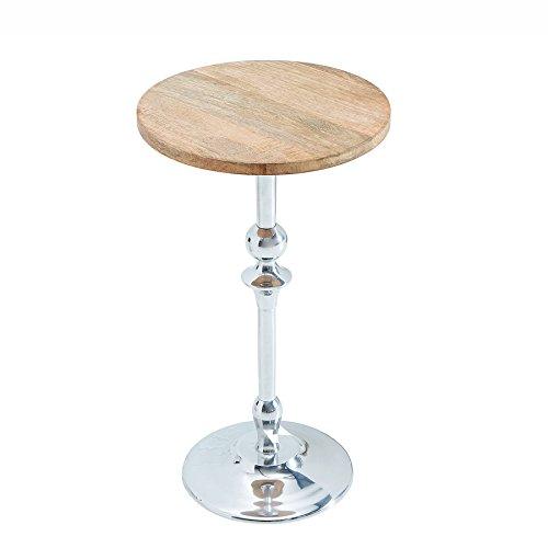 e tisch mango Eleganter Beistelltisch JARDIN silber mit Mango Tischplatte orientalisch Holztisch Holzplatte Massivholz Nachttisch