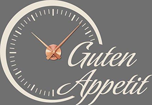 GRAZDesign 800517_KF_816 Wandtattoo Uhr mit Uhrwerk Wanduhr Küche Spruch Guten Appetit Kreis Rund (82x57cm//816 Antique White//Uhrwerk kupfer)