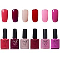 Elite99 Smalto Semipermente per Unghie in Gel UV LED 6 Colori Kit per Manicure Smalti Gel per Unghie Soak Off Base Coat Top Coat - Kit002
