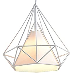 Lampes de Plafond Abat-Jour pour Lampe Suspension Lustre Cage en Fer Forme Diamant avec Douille Eclairage Style Industrielle (sans ampoule) (25cm, Support Blanc+Abat-jour Blanc)