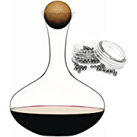 Sagaform Red Wine Decanter With Oak stopper and Steel Carafe Cleaning Balls