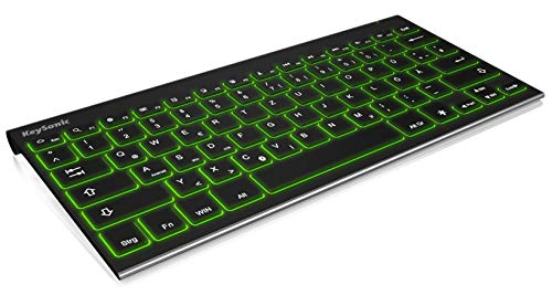 KeySonic Wireless Bluetooth Tastatur, beleuchtet 7 Farben für Tablet und PC, Windows, Android, iOS, schwarz