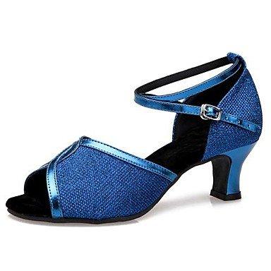XIAMUO Latin Frauen Sandalen niedrigem Absatz Glitter funkelnden Tanz Schuhe (weitere Farben) Blau