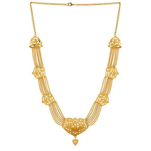 Gold Nera High Polish Golden Traditional South Indian Style Long Necklace for Womens/Girls