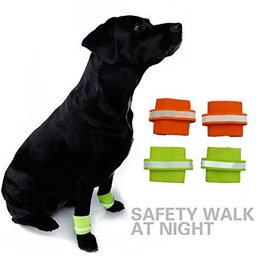 strimusimak 2Pcs Dogs Safety Reflective Wrist Band Leg Wraps Glow in The Dark Pet Supplies-Green M (Dog Leg Bands)