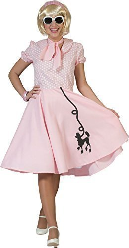 Damen 1950er Rock And Roll Top Fancy Gepunktet Pudel Kleid Party Outfit - Rosa, (Rock Pudel Rosa)