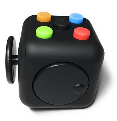 Best Selling Fidget Cube from FidgetPro – Best Rated Fidget Cube on the Market – Premium Quality with Rubber Button and Vinyl Plastic EDC Focus Toy for Kids & Adults on Amazon Guaranteed – Perfect For ADD, ADHD, Anxiety and Stress – 100% Money Back Guarantee – Rainbow on Black – Warehoused and Shipped by Amazon - 4