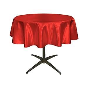 LA Linen Bridal Satin Round Tablecloth, 51-Inch, Red