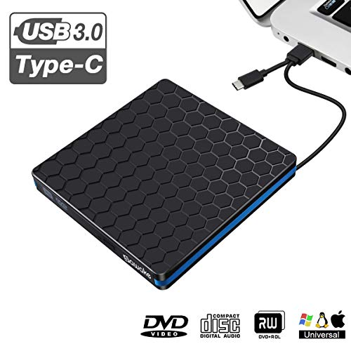 Externes DVD CD Laufwerk 3.0 USB-A & USB-C, SAWAKE DVD Player PC, tragbare DVD/ CD Brenner für Laptops unter Windows 2003 / XP/ 7/ 8/ Win10, Apple Mac / iMac, Vista 7/ 8 - Aluminiumlegierung Schwarz