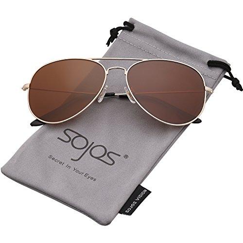 SOJOS Schick Klassische UV Schützen Polarisiert Sonnenbrille Herren SJ1054 mit Gold Rahmen/Braun Linse