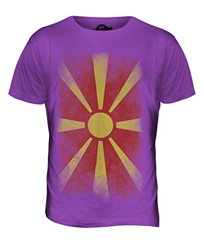 CandyMix Mazedonien Verblichen Flagge Herren T Shirt Violett
