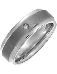 Theia Titanium Court Shape 0.05ct Round Diamond Rub Over Set Matt Centre 7 mm Ring