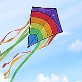 Homegoo Cerf Volant, Cerf-Volants d'arc-en-Ciel de Easy Flyer pour des Adultes Volant Facilement par Vent Fort ou léger, 120x60cm