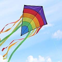 Idea Regalo - Homegoo Aquilone per Adulti, Easy Flyer Aquiloni Arcobaleno All'aperto Volare Facilmente con Venti Forti o Leggeri, 120x60 cm