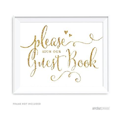 Andaz Drücken Gold Glitterdruck Party Schilder