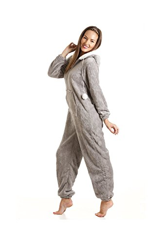 Camille Druck Super Weiches Fleece Alles in Einem 38/40 Grey Nina Onesie