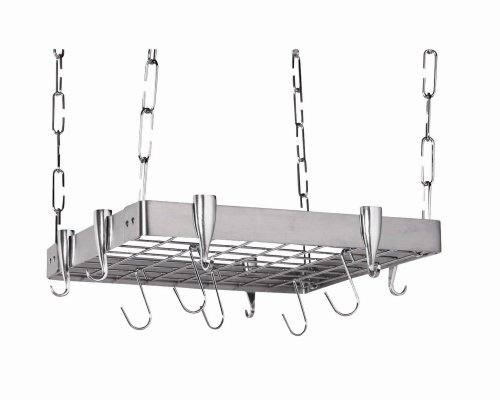 Concept Housewares PR-40902 Stainless-Steel Hanging Pot Rack, Square Square Ceiling Pot Rack