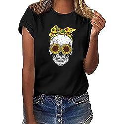 SUDADY Mujer Camiseta,Cabeza de Calavera Impreso Manga Corta Tops,Estampado de Girasol Camiseta Cuello Redondo Mujer,Blusa de Manga Corta de Verano,Moda Impresa Camiseta Blusa
