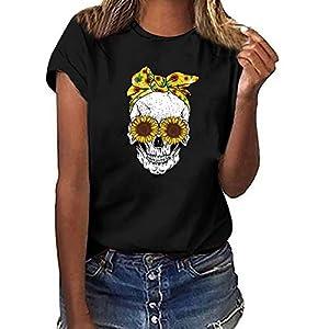 SUDADY Mujer Camiseta,Cabeza de Calavera