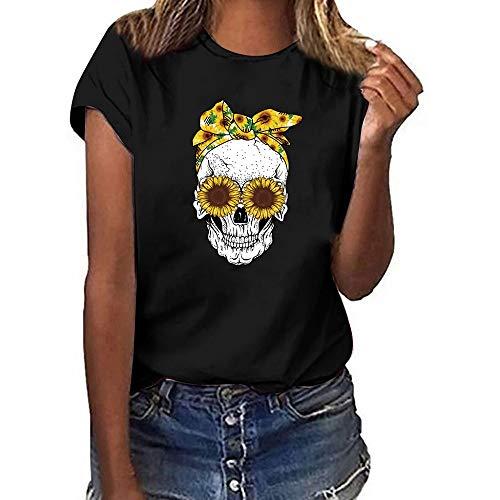 SUDADY Mujer Camiseta,Cabeza de Calavera Impreso Manga Corta...
