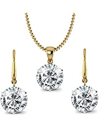 ValaGo 18k Gold Plated Swiss Zircon Pendant Set For Women And Girls