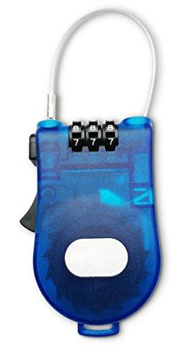 Aufroll-Kabel-Schloss mit 90 cm ausziehbaren Drahtseil und Zahlenschloss, sicher, klein und leicht, perfekt für Gepäck im Urlaub, Skiausrüstung oder Helme - stabil und aufrollbar (blau) (Reise-hose Leichte)