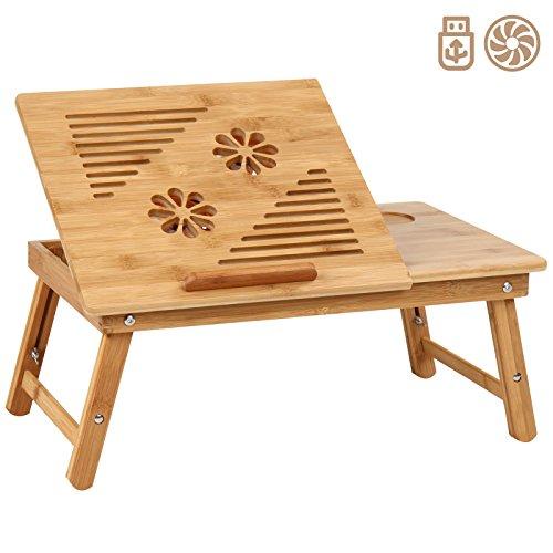 MIADOMODO Betttisch mit floralem Muster für Tablet und Laptop | Betttablett aus Bambus in 5 Stufen einstellbar mit USB-Lüfter, Schublade | Laptoptisch, Knietisch, Frühstückstablett, Notebooktisch